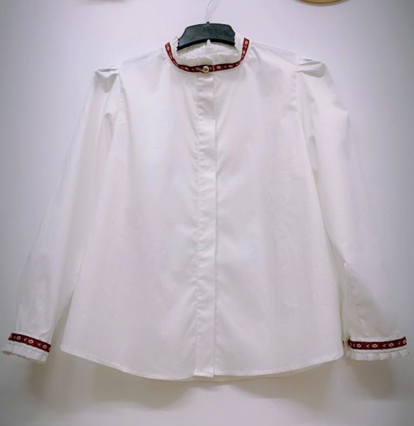 Crisp White Fly Front Shirt with Traditional Accents 2