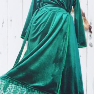 Velvet Polka Wrap Dress
