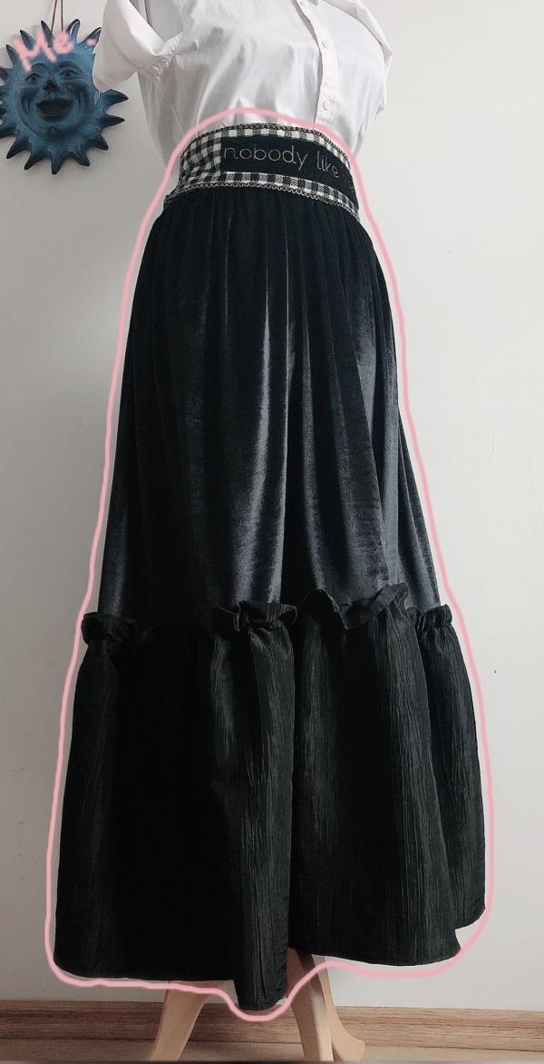 Ruched Taffeta and Velvet Maxi Skirt