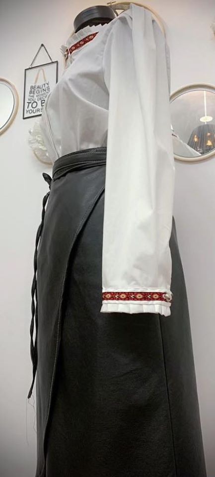 Crisp White Fly Front Shirt with Traditional Accents 1
