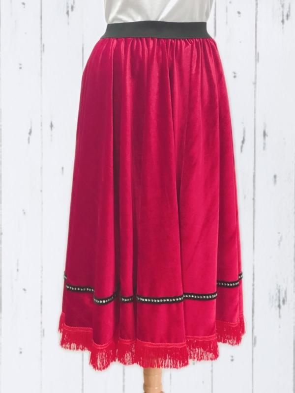 NLH Velvet Fringed Skirt Women