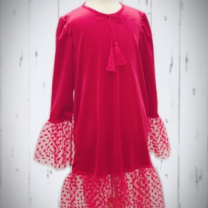 Velvet Polka Dress RED