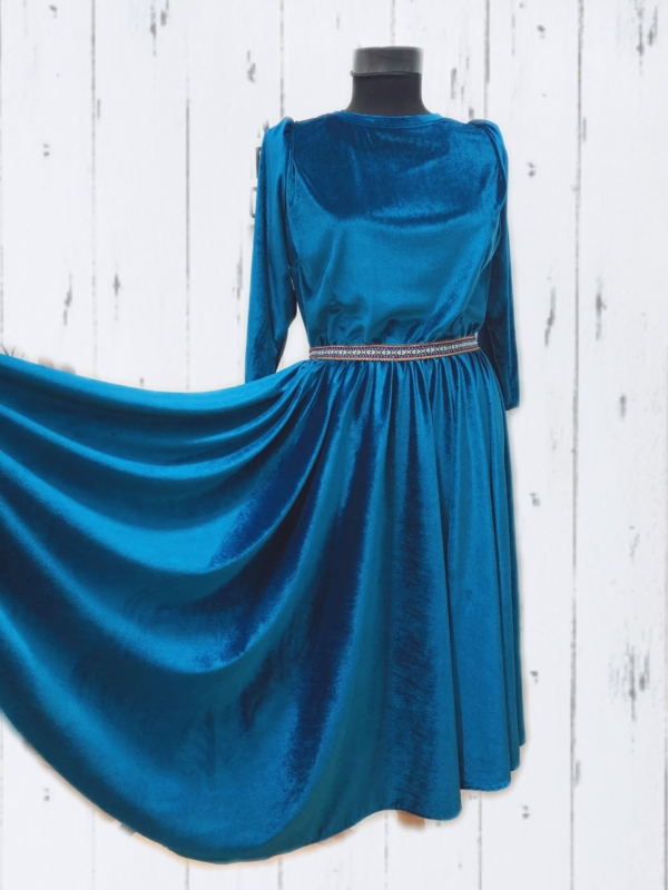Velvet Circle Skirt Dress Women