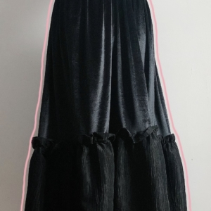 Ruched Taffeta and Velvet Maxi Skirt