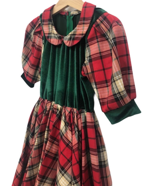 Tartan Dress with Velvet and Lace